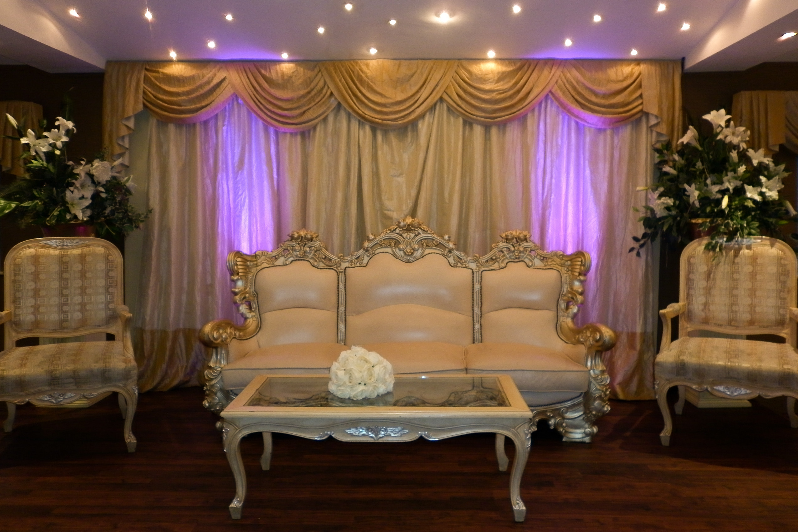 Purple uplighting at Nawaab Persian Suite, Manchester