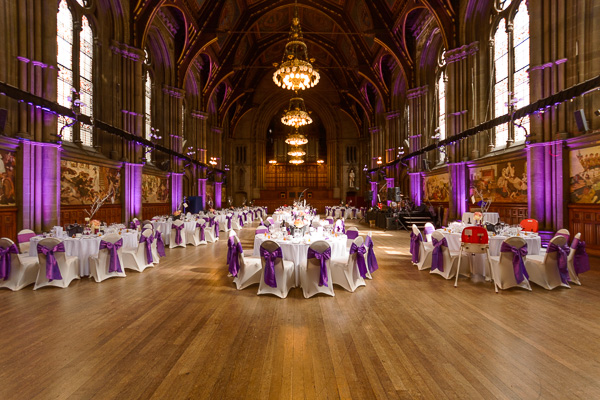 Purple uplighting at Manchester Town Hall